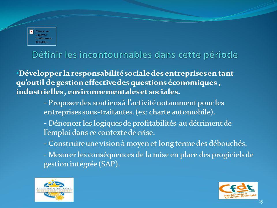 Développer la responsabilité sociale des entreprises en tant qu'outil de gestion effective des questions économiques, industrielles, environnementales et sociales.