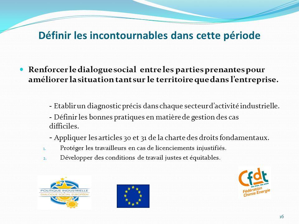 Définir les incontournables dans cette période Renforcer le dialogue social entre les parties prenantes pour améliorer la situation tant sur le territoire que dans l'entreprise.
