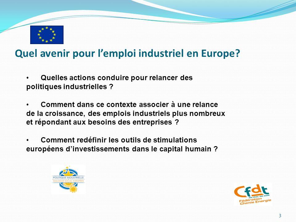 Quel avenir pour l'emploi industriel en Europe.