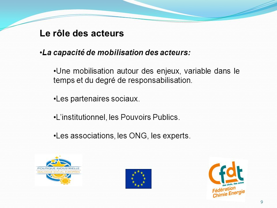 Le rôle des acteurs La capacité de mobilisation des acteurs: Une mobilisation autour des enjeux, variable dans le temps et du degré de responsabilisation.