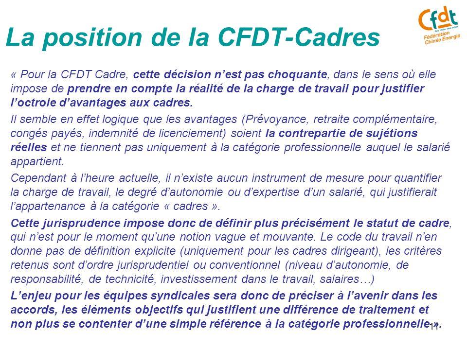11 « Pour la CFDT Cadre, cette décision n'est pas choquante, dans le sens où elle impose de prendre en compte la réalité de la charge de travail pour justifier l'octroie d'avantages aux cadres.