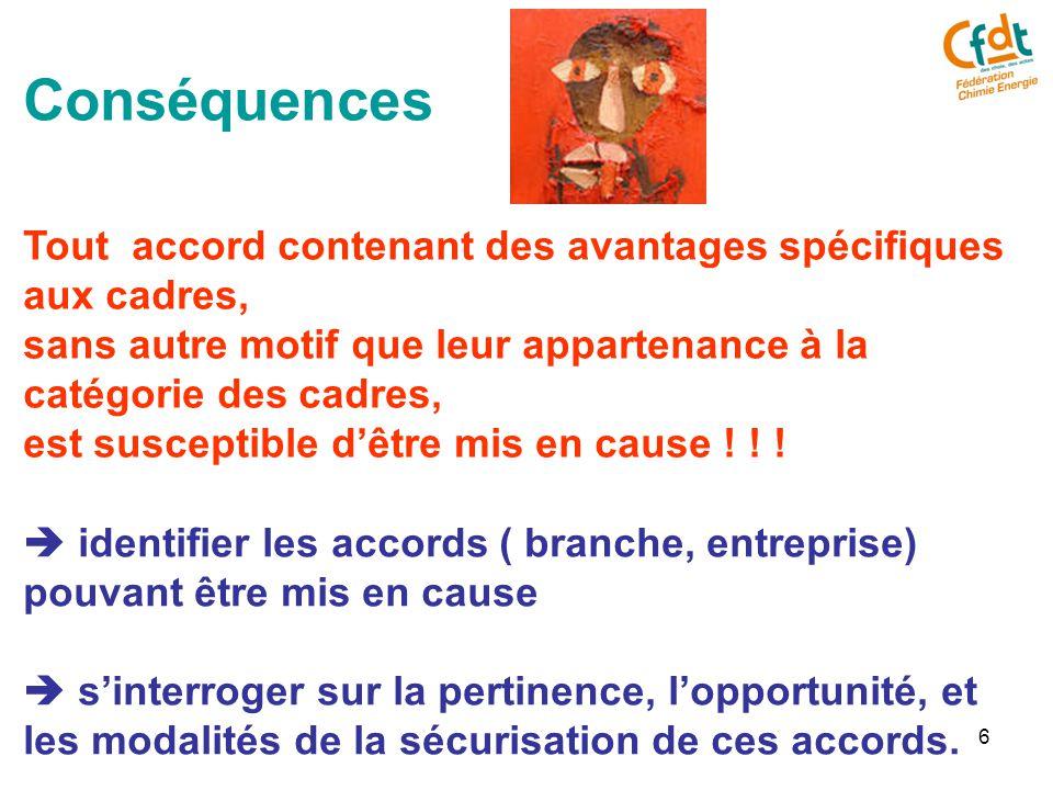 6 Conséquences Tout accord contenant des avantages spécifiques aux cadres, sans autre motif que leur appartenance à la catégorie des cadres, est susceptible d'être mis en cause .