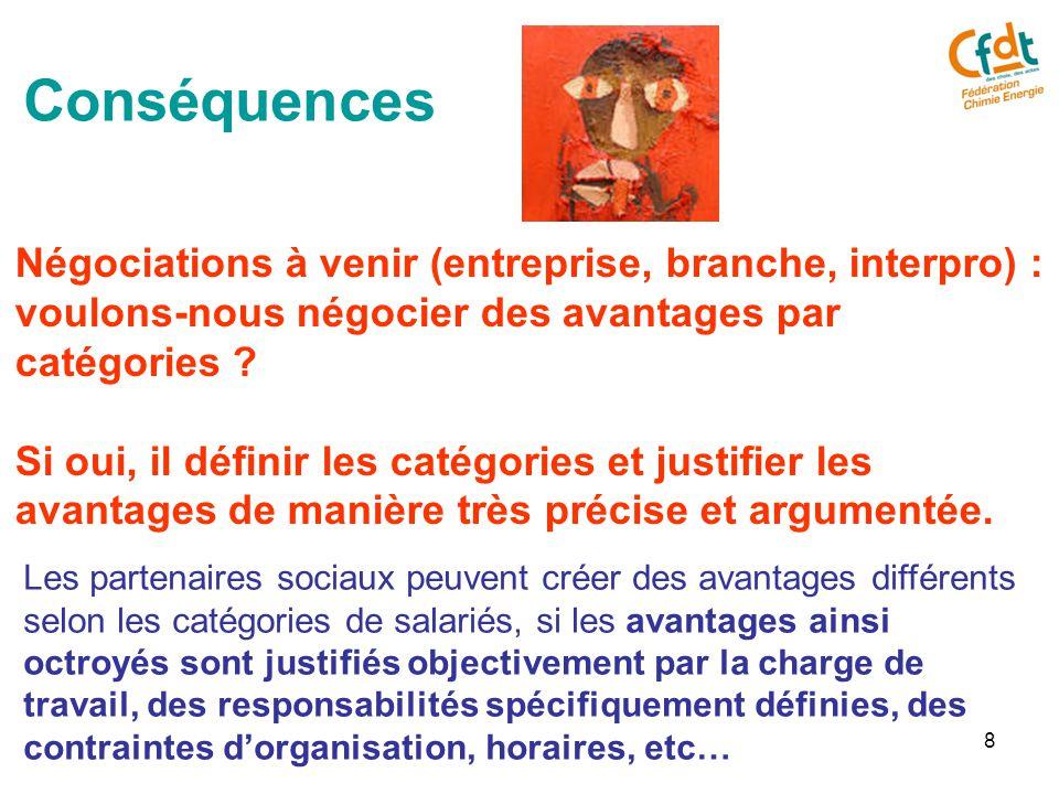 8 Conséquences Négociations à venir (entreprise, branche, interpro) : voulons-nous négocier des avantages par catégories .