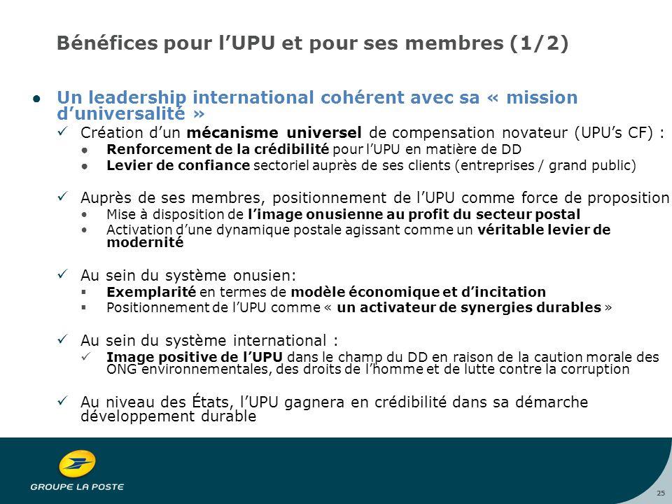 25 Bénéfices pour l'UPU et pour ses membres (1/2) ●Un leadership international cohérent avec sa « mission d'universalité » Création d'un mécanisme universel de compensation novateur (UPU's CF) : ●Renforcement de la crédibilité pour l'UPU en matière de DD ●Levier de confiance sectoriel auprès de ses clients (entreprises / grand public) Auprès de ses membres, positionnement de l'UPU comme force de proposition Mise à disposition de l'image onusienne au profit du secteur postal Activation d'une dynamique postale agissant comme un véritable levier de modernité Au sein du système onusien:  Exemplarité en termes de modèle économique et d'incitation  Positionnement de l'UPU comme « un activateur de synergies durables » Au sein du système international : Image positive de l'UPU dans le champ du DD en raison de la caution morale des ONG environnementales, des droits de l'homme et de lutte contre la corruption Au niveau des États, l'UPU gagnera en crédibilité dans sa démarche développement durable
