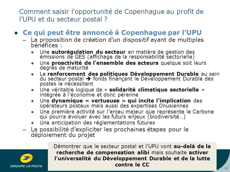 33 Comment saisir l'opportunité de Copenhague au profit de l'UPU et du secteur postal .