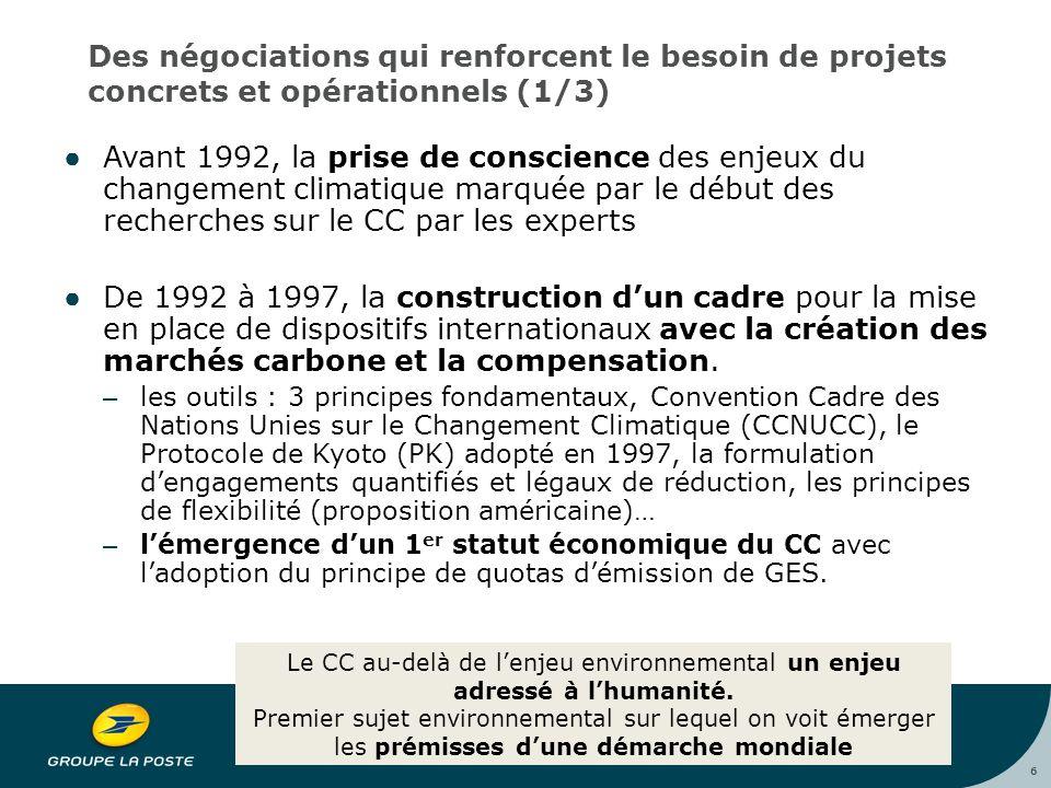 6 Des négociations qui renforcent le besoin de projets concrets et opérationnels (1/3) ●Avant 1992, la prise de conscience des enjeux du changement climatique marquée par le début des recherches sur le CC par les experts ●De 1992 à 1997, la construction d'un cadre pour la mise en place de dispositifs internationaux avec la création des marchés carbone et la compensation.