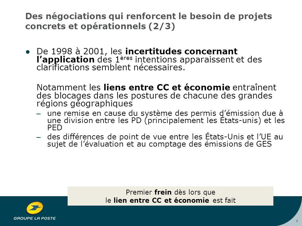 7 Des négociations qui renforcent le besoin de projets concrets et opérationnels (2/3) ●De 1998 à 2001, les incertitudes concernant l'application des 1 ères intentions apparaissent et des clarifications semblent nécessaires.