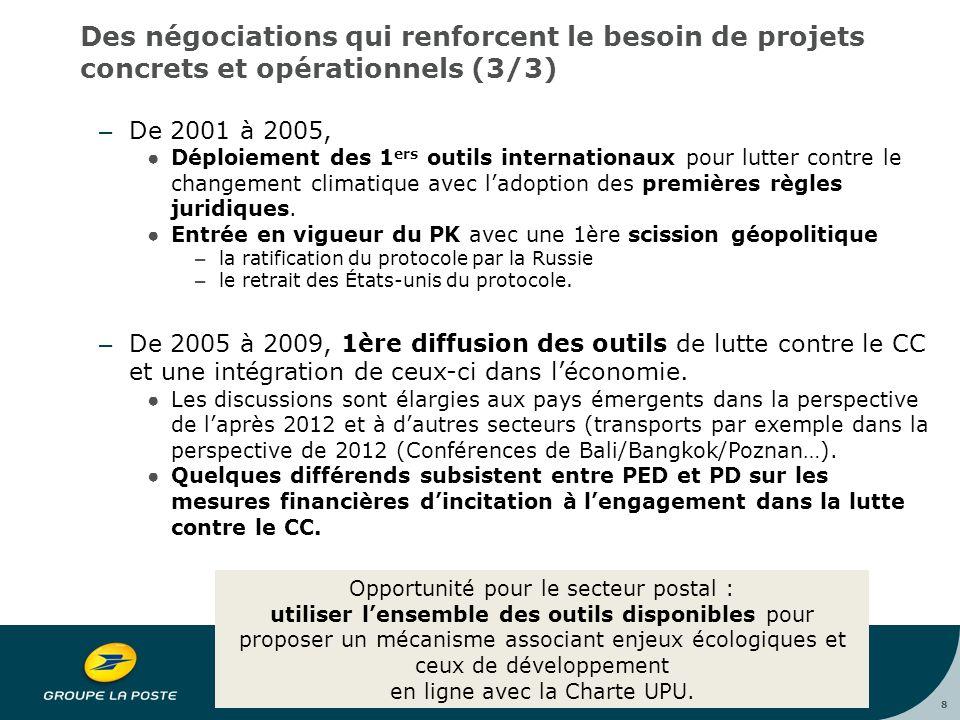 8 Des négociations qui renforcent le besoin de projets concrets et opérationnels (3/3) – De 2001 à 2005, ●Déploiement des 1 ers outils internationaux pour lutter contre le changement climatique avec l'adoption des premières règles juridiques.