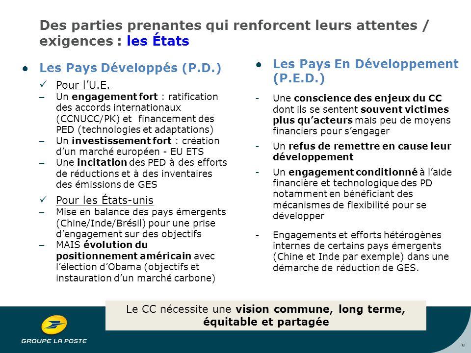 9 Des parties prenantes qui renforcent leurs attentes / exigences : les États ●Les Pays Développés (P.D.) Pour l'U.E.