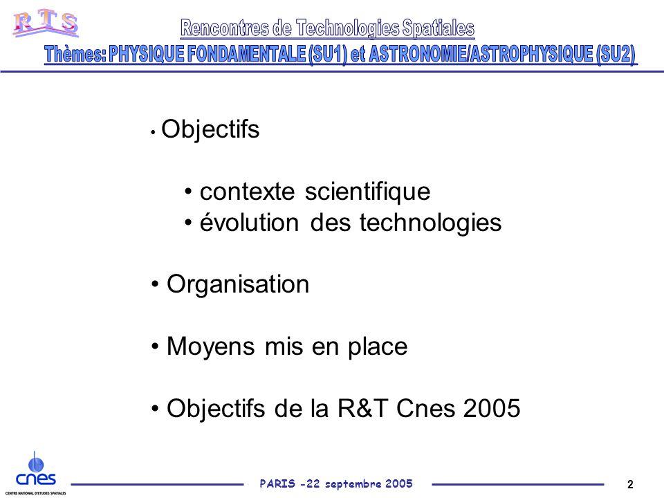 2 PARIS -22 septembre 2005 Objectifs contexte scientifique évolution des technologies Organisation Moyens mis en place Objectifs de la R&T Cnes 2005