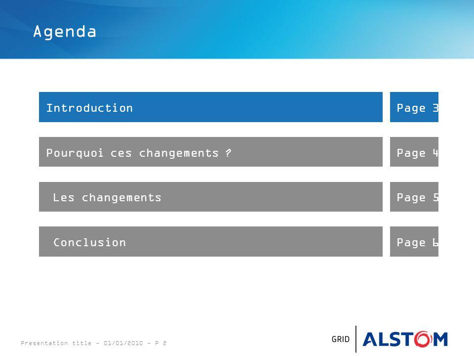 Presentation title - 01/01/2010 - P 2 Agenda IntroductionPage 3 Pourquoi ces changements ?Page 4 Les changementsPage 5 ConclusionPage 6