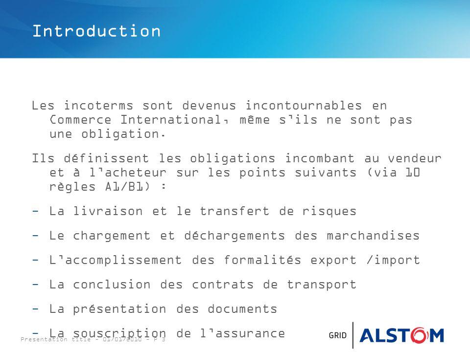 Presentation title - 01/01/2010 - P 3 Introduction Les incoterms sont devenus incontournables en Commerce International, même s'ils ne sont pas une ob