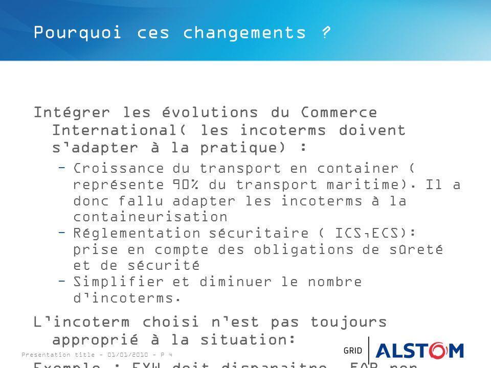 Presentation title - 01/01/2010 - P 4 Pourquoi ces changements ? Intégrer les évolutions du Commerce International( les incoterms doivent s'adapter à