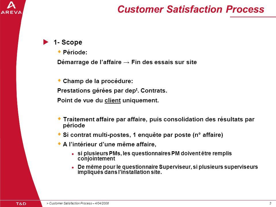 > Customer Satisfaction Process – 4/04/200833 Customer Satisfaction Process  1- Scope  Période: Démarrage de l'affaire → Fin des essais sur site  C