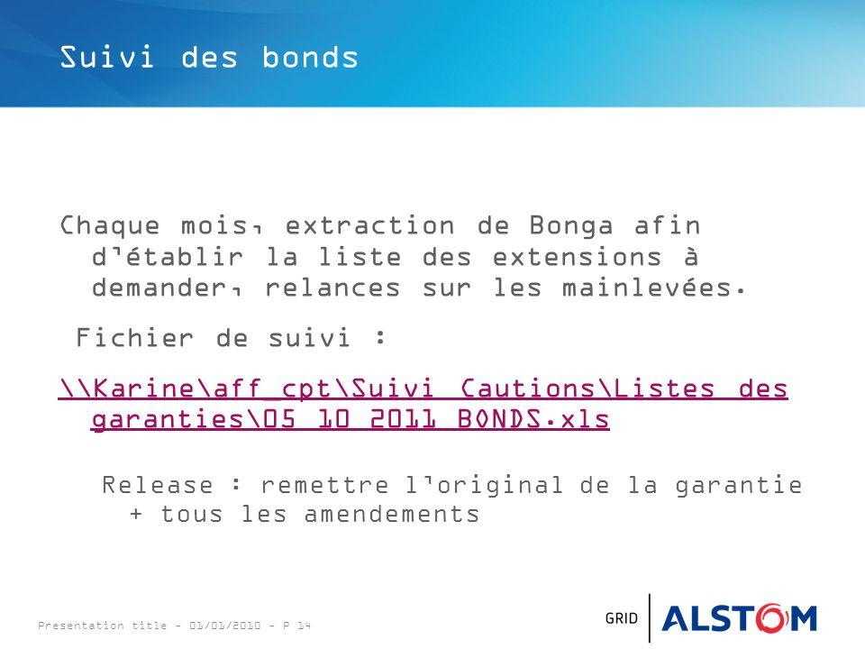 Presentation title - 01/01/2010 - P 14 Suivi des bonds Chaque mois, extraction de Bonga afin d'établir la liste des extensions à demander, relances sur les mainlevées.