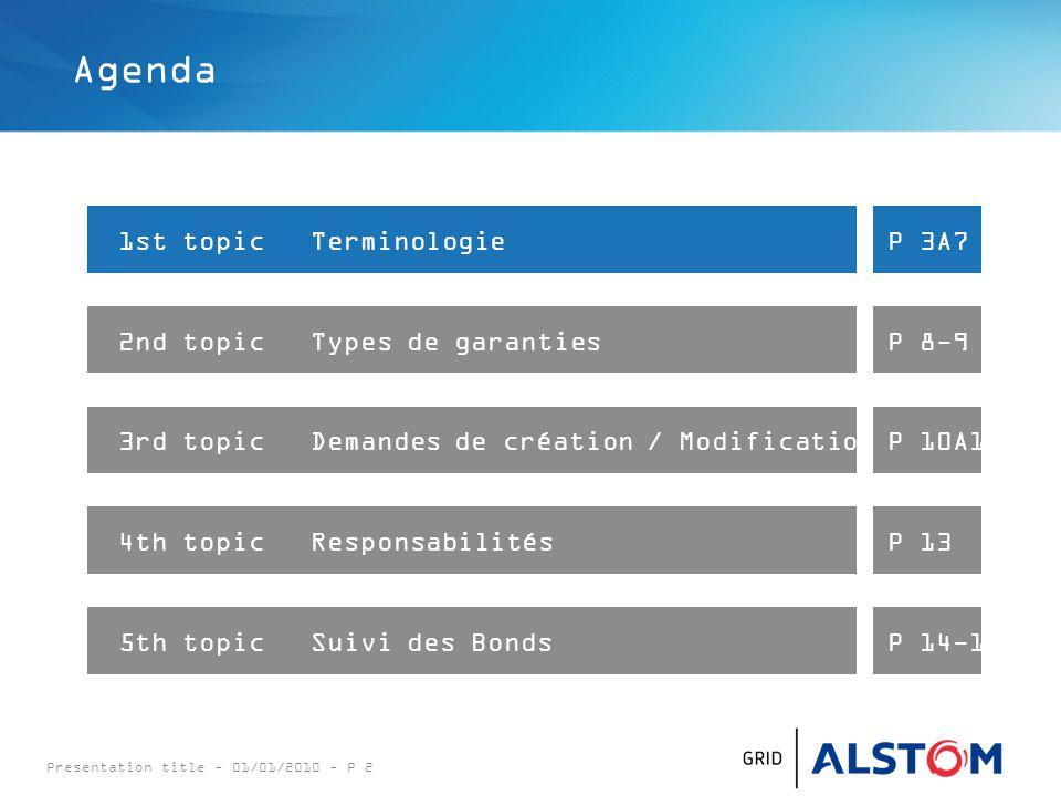Presentation title - 01/01/2010 - P 3 Terminologie : UN CONDITIONAL : A éviter absolument (Chèque en blanc) mais courant pour les Bid Bonds.