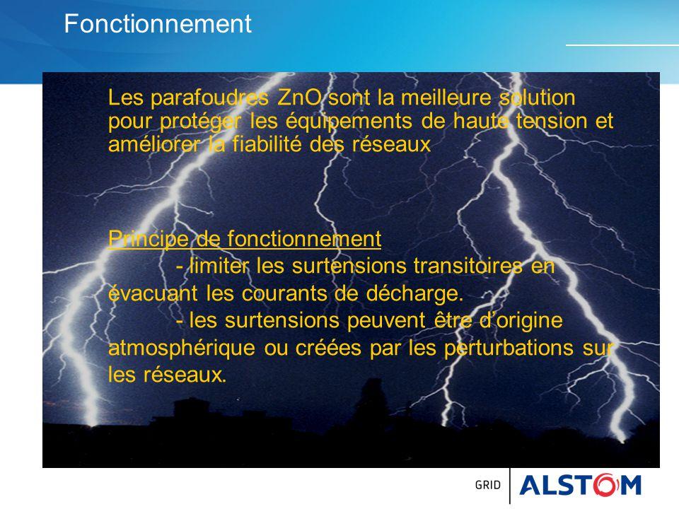 Définition des valeurs CEI 60099-4 de 2009 Ur :Tension assignée (tenue à f indus pendant 10 sec) Uc = MCOV : Maximum Continuous Over Voltage Classe de décharge de ligne (Line discharge class) : La norme CEI définit 5 classes à niveaux d'absorption d 'énergie croissants : la classe 1 est très courante pour les réseaux 72,5 à 145 kV, la classe 5 est utilisée en général pour la très haute tension : 550 et 800 kV.
