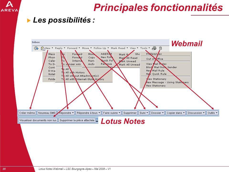 Lotus Notes Webmail – LSC Bourgogne-Alpes – Mai 2008 – V120  Les possibilités : Principales fonctionnalités Webmail Lotus Notes