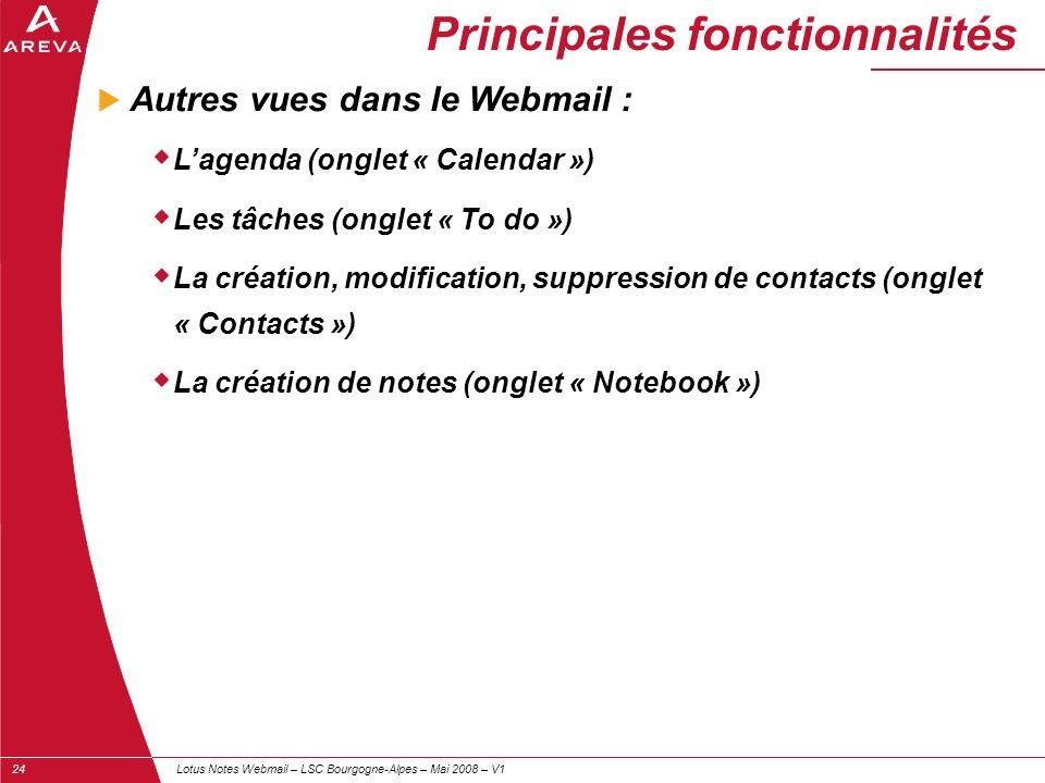 Lotus Notes Webmail – LSC Bourgogne-Alpes – Mai 2008 – V124 Principales fonctionnalités  Autres vues dans le Webmail :  L'agenda (onglet « Calendar