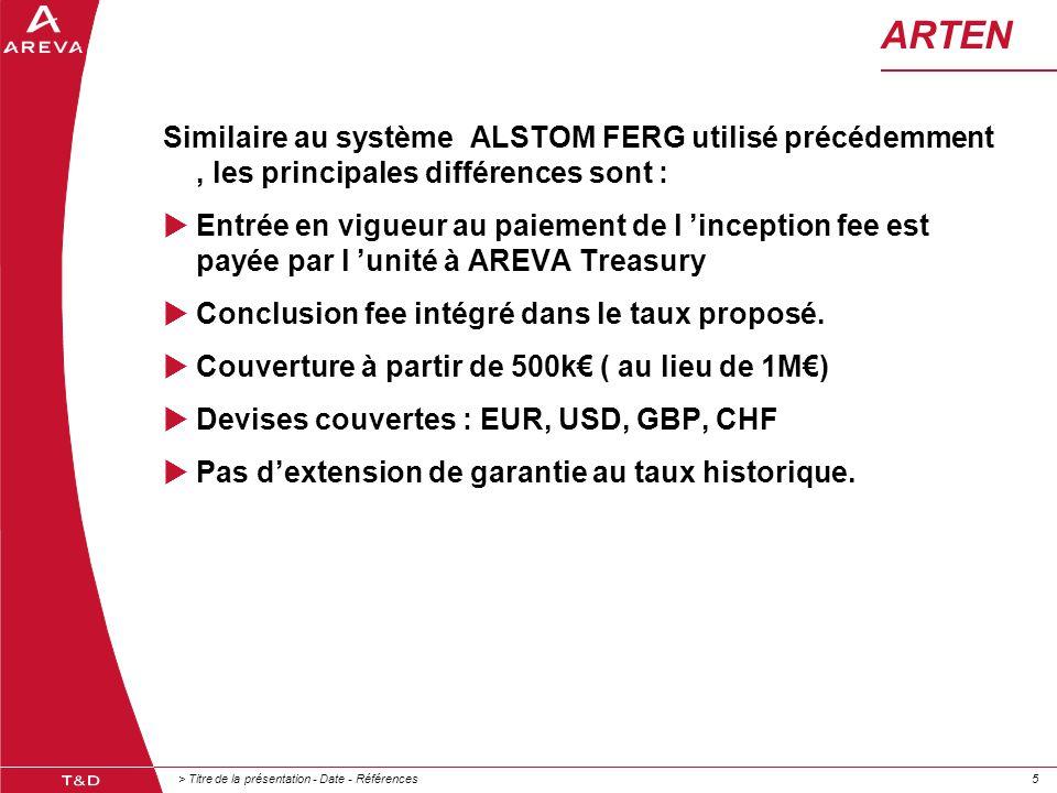 > Titre de la présentation - Date - Références55 ARTEN Similaire au système ALSTOM FERG utilisé précédemment, les principales différences sont :  Ent