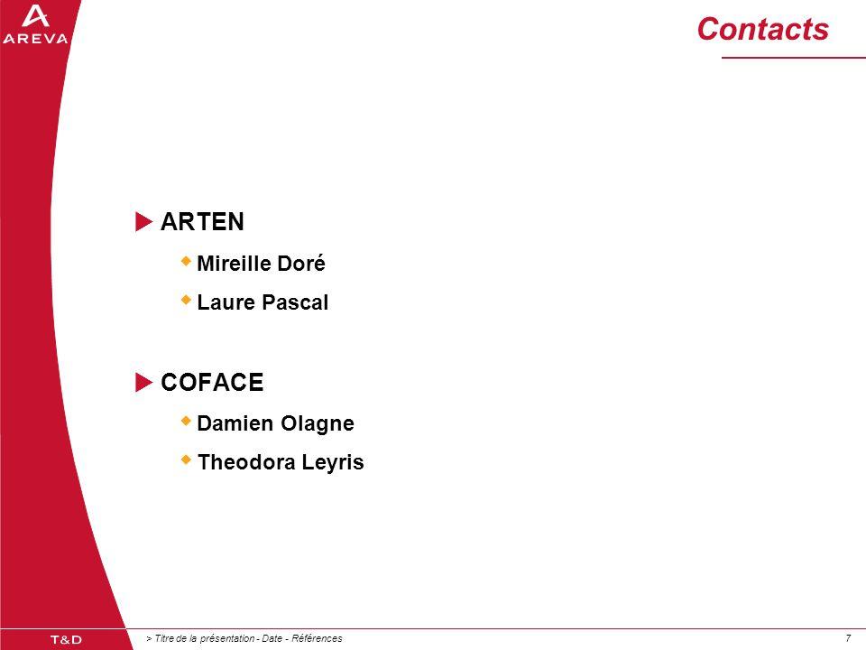 > Titre de la présentation - Date - Références77 Contacts  ARTEN  Mireille Doré  Laure Pascal  COFACE  Damien Olagne  Theodora Leyris