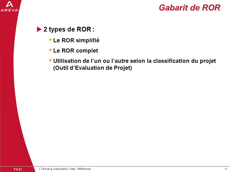 > Titre de la présentation - Date - Références11 Gabarit de ROR  2 types de ROR :  Le ROR simplifié  Le ROR complet  Utilisation de l'un ou l'autr