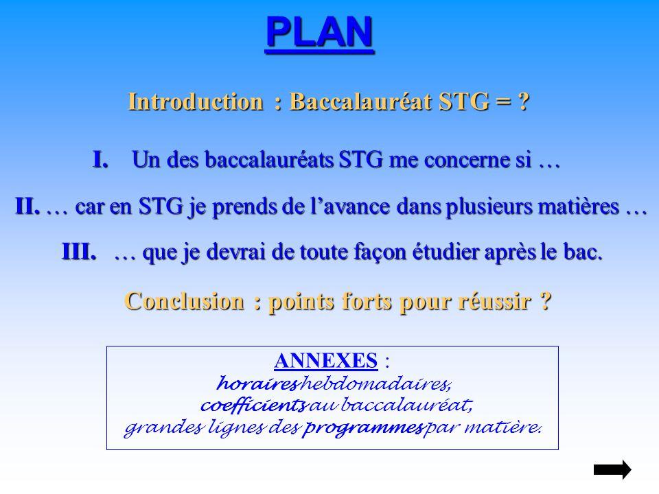 Introduction : Baccalauréat STG = . PLAN I.Un des baccalauréats STG me concerne si … I.