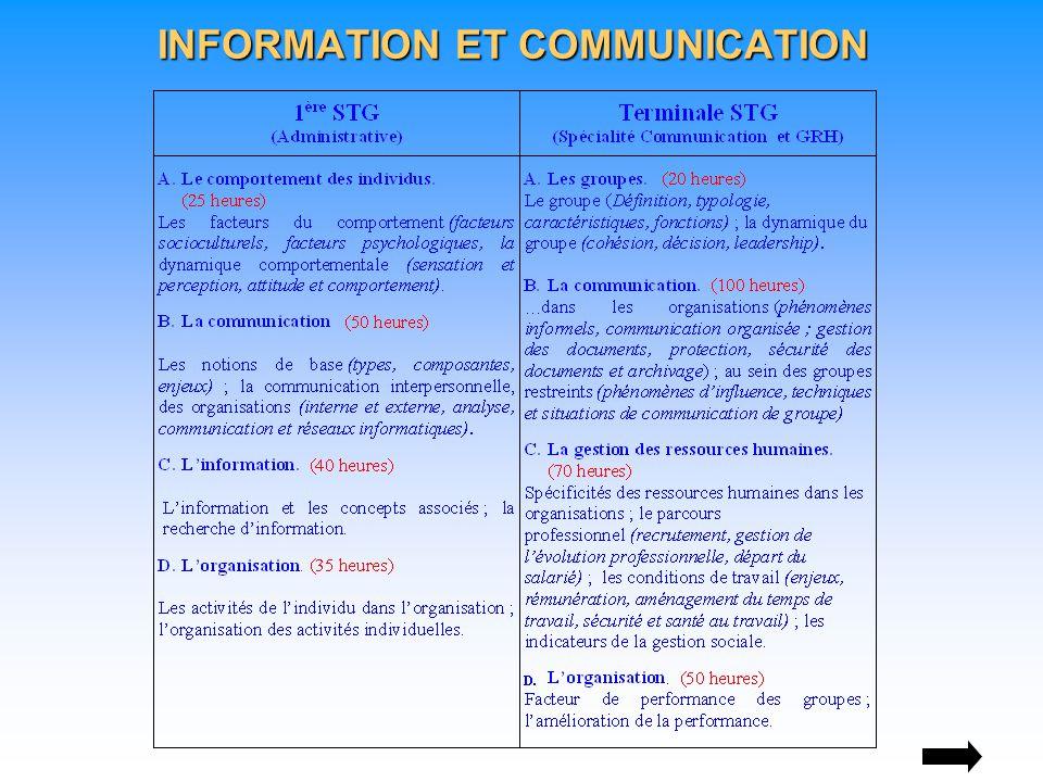 INFORMATION ET COMMUNICATION