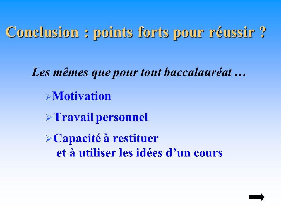  Motivation  Travail personnel  Capacité à restituer Conclusion : points forts pour réussir .