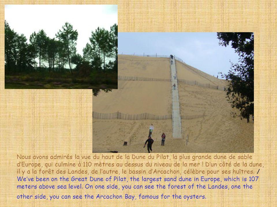 Nous avons admirés la vue du haut de la Dune du Pilat, la plus grande dune de sable d'Europe, qui culmine à 110 mètres au dessus du niveau de la mer .