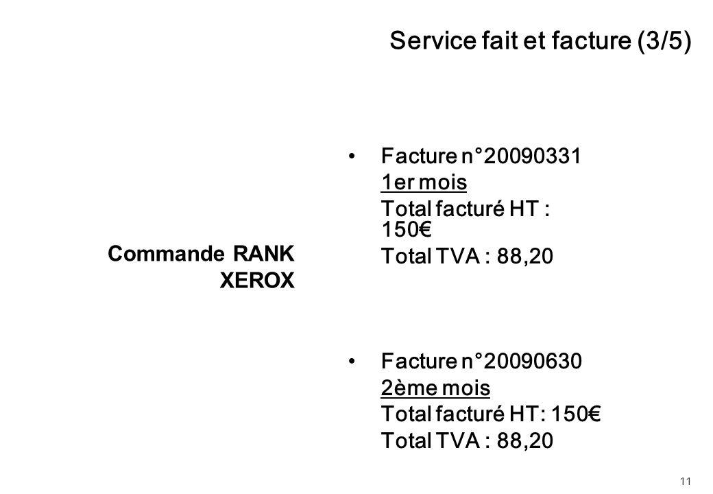 11 Facture n°20090331 1er mois Total facturé HT : 150€ Total TVA : 88,20 Facture n°20090630 2ème mois Total facturé HT: 150€ Total TVA : 88,20 Service fait et facture (3/5) Commande RANK XEROX