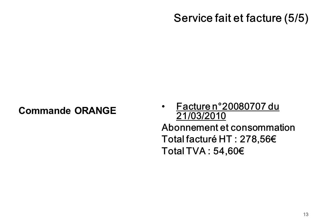 13 Facture n°20080707 du 21/03/2010 Abonnement et consommation Total facturé HT : 278,56€ Total TVA : 54,60€ Service fait et facture (5/5) Commande ORANGE