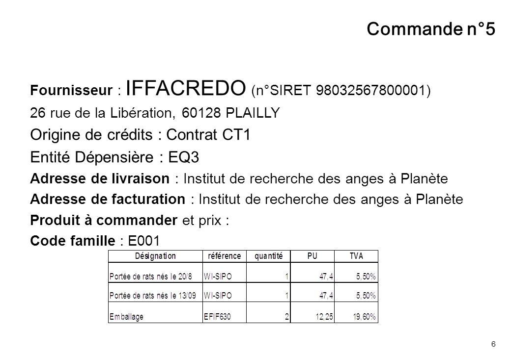 6 Fournisseur : IFFACREDO (n°SIRET 98032567800001) 26 rue de la Libération, 60128 PLAILLY Origine de crédits : Contrat CT1 Entité Dépensière : EQ3 Adr
