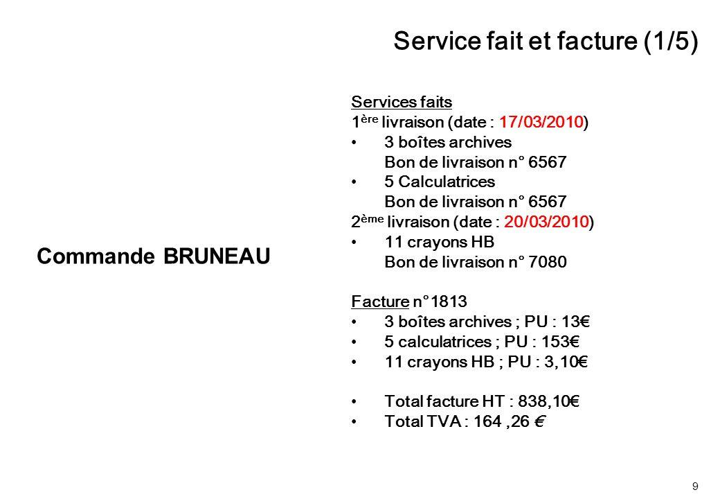 9 Services faits 1 ère livraison (date : 17/03/2010) 3 boîtes archives Bon de livraison n° 6567 5 Calculatrices Bon de livraison n° 6567 2 ème livrais