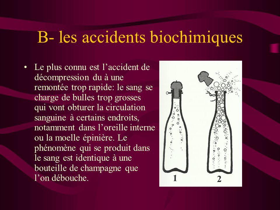 B- les accidents biochimiques Le plus connu est l'accident de décompression du à une remontée trop rapide: le sang se charge de bulles trop grosses qu