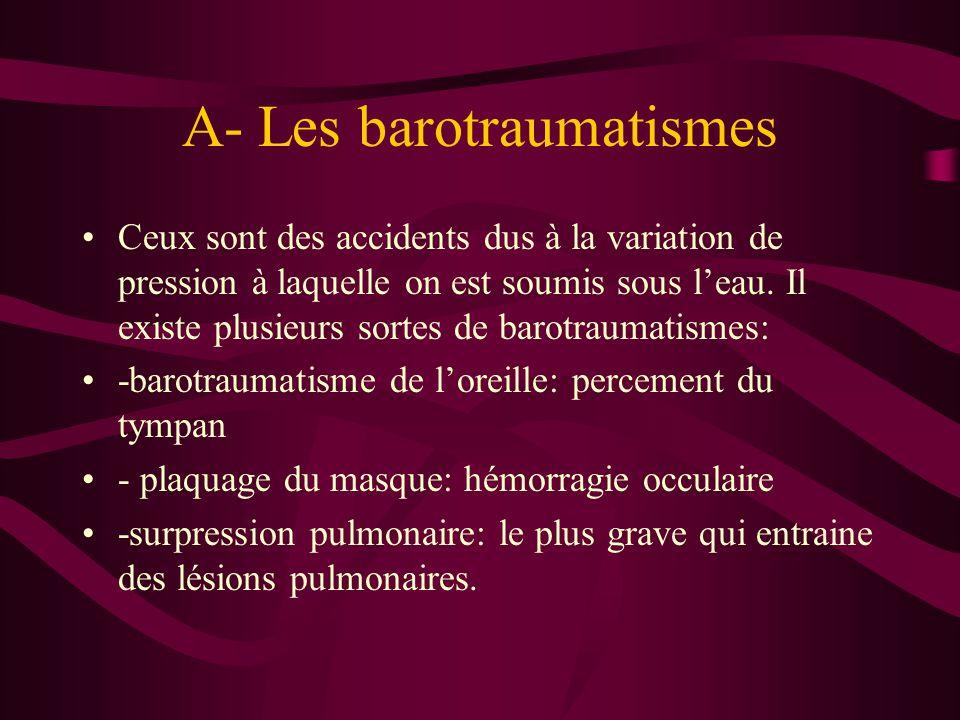 A- Les barotraumatismes Ceux sont des accidents dus à la variation de pression à laquelle on est soumis sous l'eau. Il existe plusieurs sortes de baro
