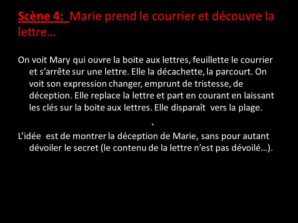 Scène 4: Marie prend le courrier et découvre la lettre… On voit Mary qui ouvre la boite aux lettres, feuillette le courrier et s'arrête sur une lettre.