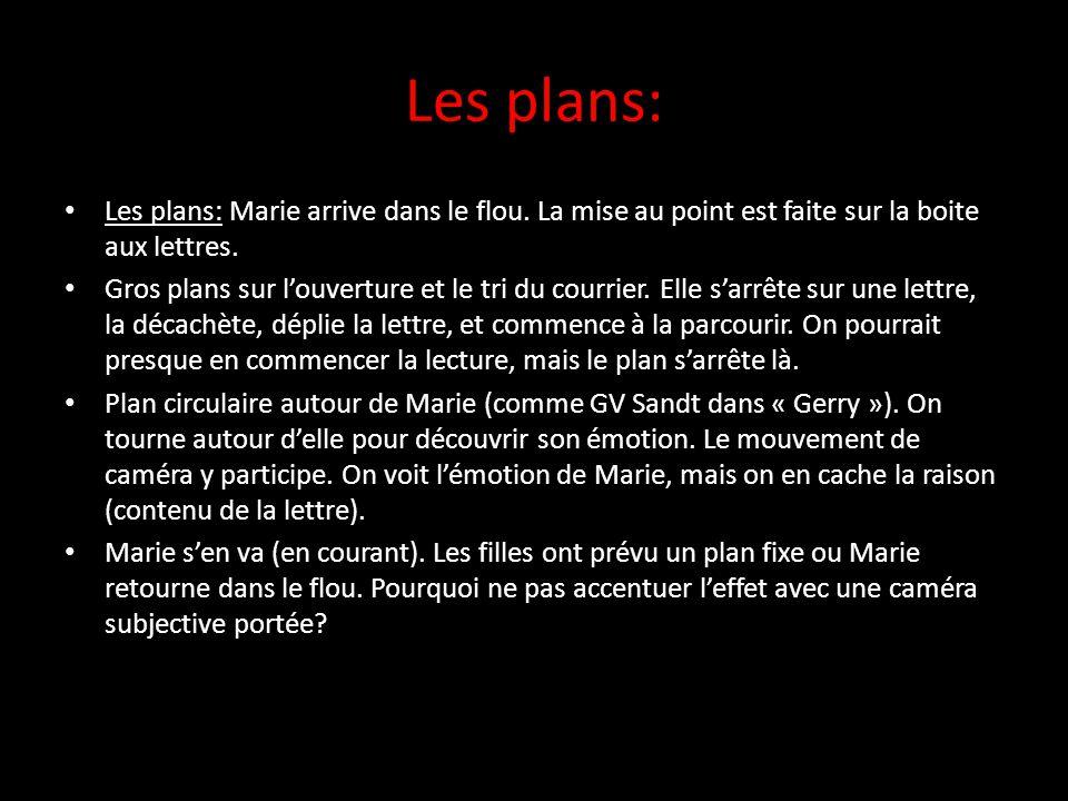 Les plans: Les plans: Marie arrive dans le flou.