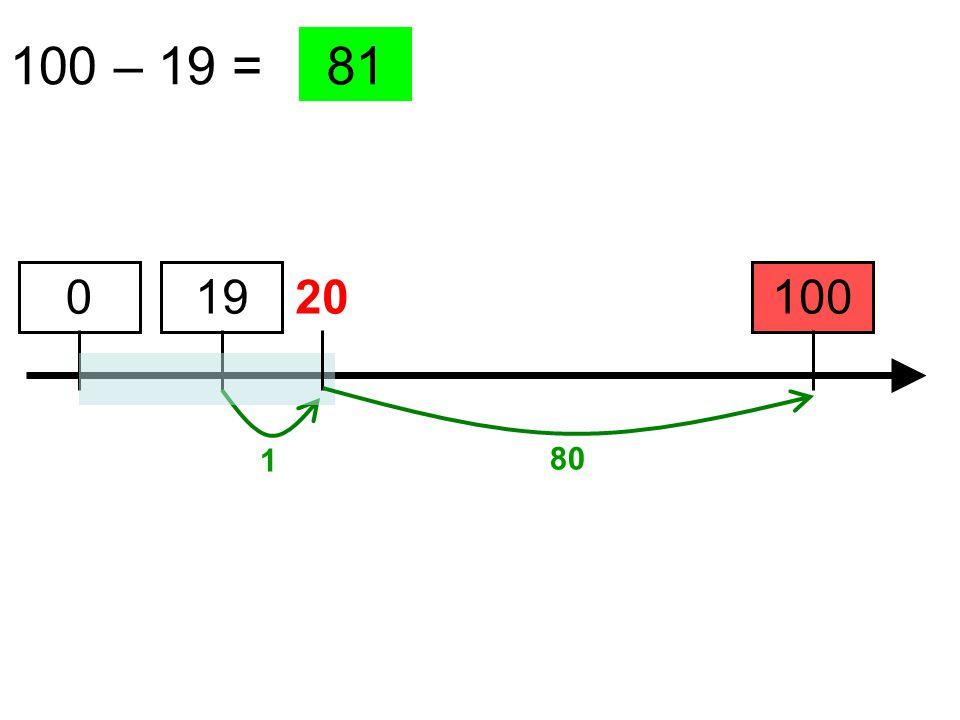 100 – 19 = 100 81 19 1 0 20 80
