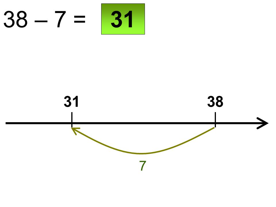 38 – 7 = 3138 7 31
