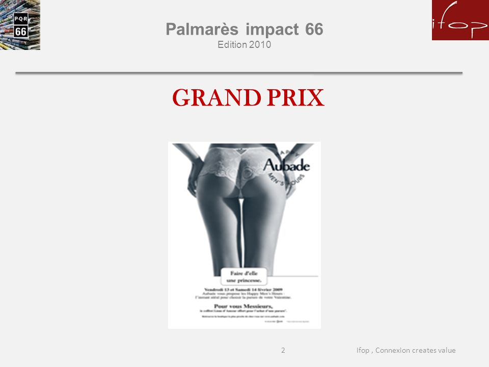 Palmarès impact 66 Edition 2010 GRAND PRIX 2Ifop, Connexion creates value
