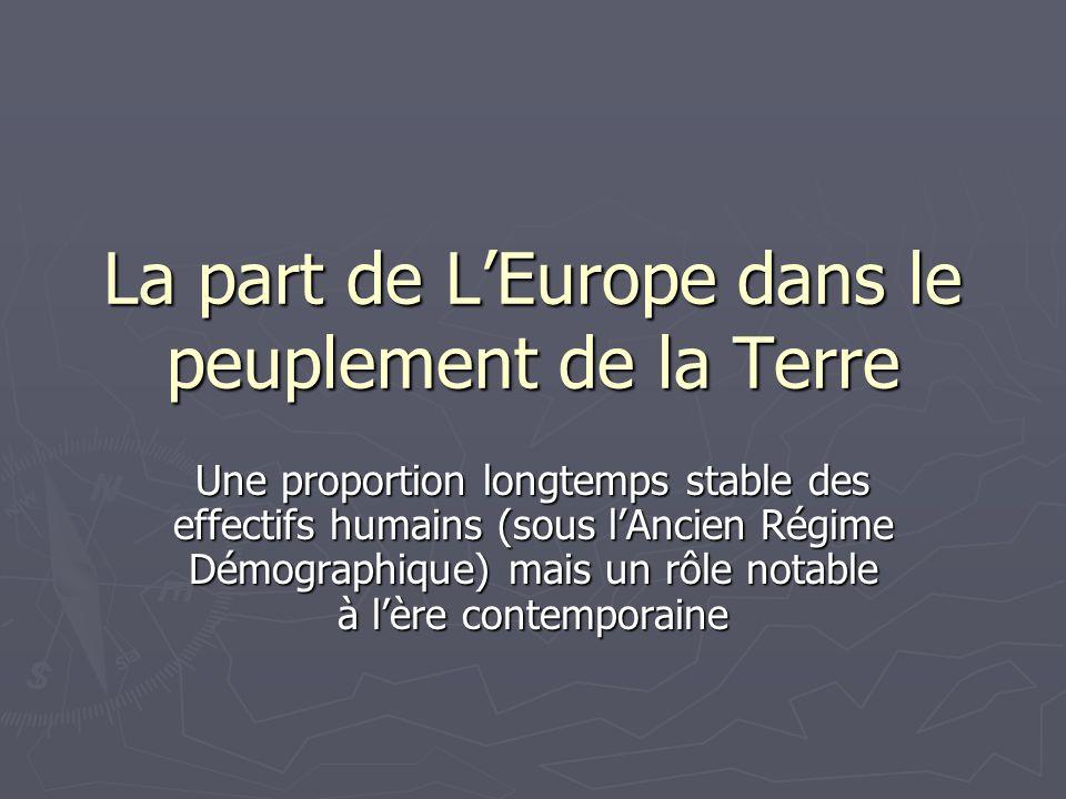 La part de L'Europe dans le peuplement de la Terre Une proportion longtemps stable des effectifs humains (sous l'Ancien Régime Démographique) mais un