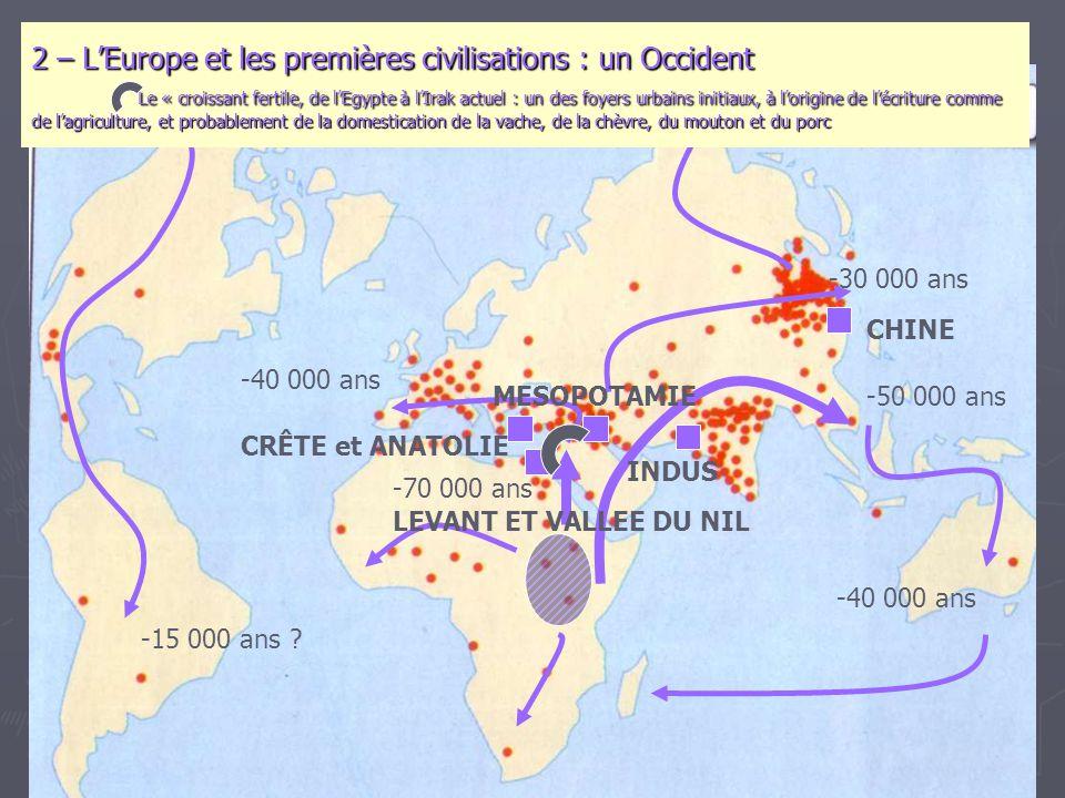 -70 000 ans -50 000 ans -40 000 ans -30 000 ans -15 000 ans ? 2 – L'Europe et les premières civilisations : un Occident Le « croissant fertile, de l'E