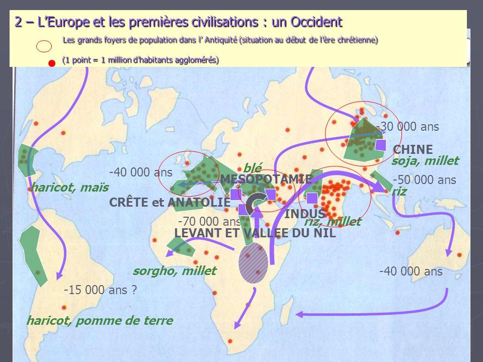-70 000 ans -50 000 ans -40 000 ans -30 000 ans -15 000 ans ? 2 – L'Europe et les premières civilisations : un Occident Les grands foyers de populatio