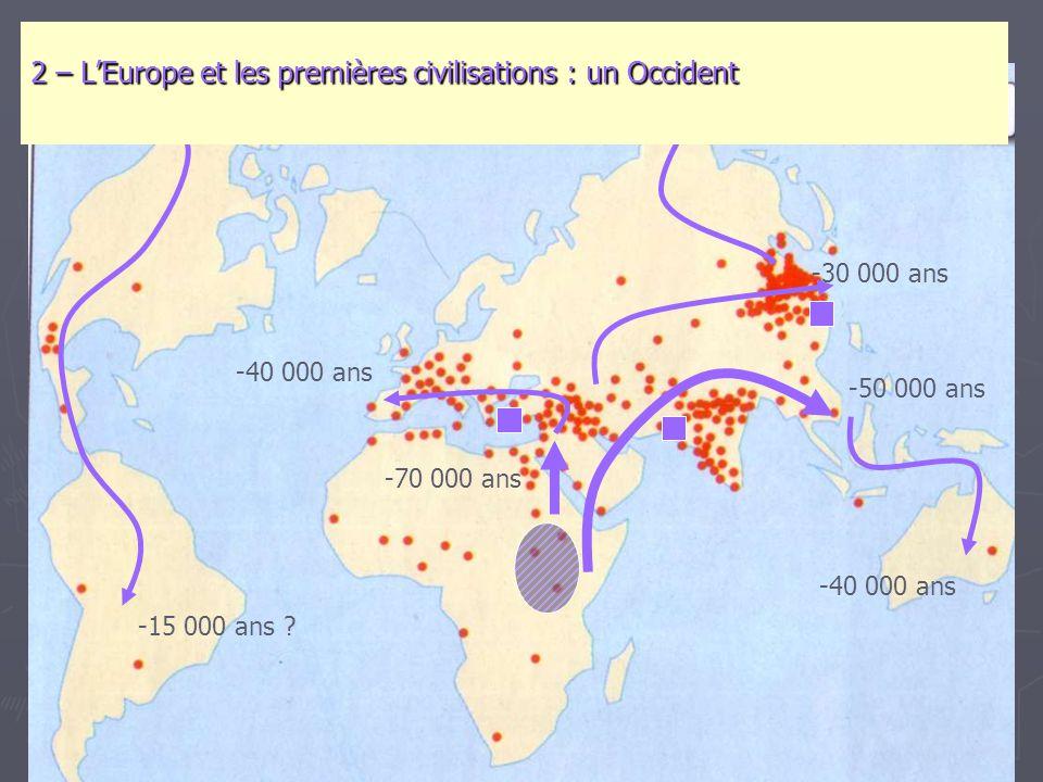 -70 000 ans -50 000 ans -40 000 ans -30 000 ans -15 000 ans ? 2 – L'Europe et les premières civilisations : un Occident