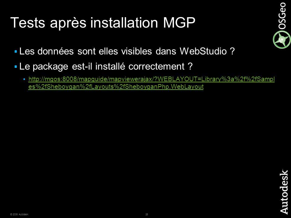 28© 2006 Autodesk Tests après installation MGP  Les données sont elles visibles dans WebStudio ?  Le package est-il installé correctement ?  http:/