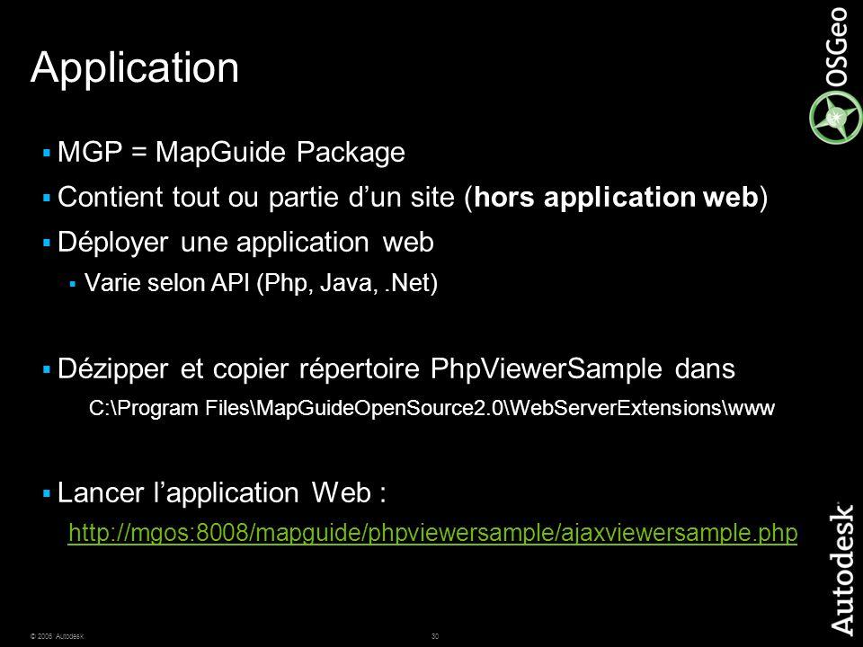 30© 2006 Autodesk Application  MGP = MapGuide Package  Contient tout ou partie d'un site (hors application web)  Déployer une application web  Var