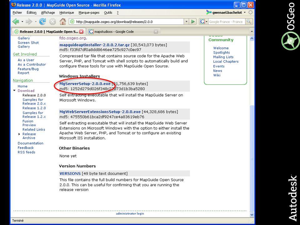 19© 2006 Autodesk Fournisseurs FDO Accès natif à une multitude de formats géographiques, sans copie ou conversion de données Applications intégrant FDO Par exemple, AutoCAD Map 3D, Autodesk MapGuide Enterprise et MapGuide Open Source Oracle SQL- Server MySQL SDF SHP ODBC Raster WMS WFS ArcSDE Fournisseurs certifiés par AutodeskFournisseurs tiers / Open Source GDAL OGR FME PostGIS SQL-Server Oracle Oracle et SQL-Server MS Access et Excel Plus de 25 formats vectoriels 25+ raster formats Plus de 100 formats vectoriels.jpg,.jpeg,.jp2,.j2k,.sid,.png,.tif,.tiff,.dem,.ecw,.dt0,.dt1, dt2,.asc,.adf,.nitf Informix … = en cours de développement … … = Tiers / Open Source = Autodesk contribue
