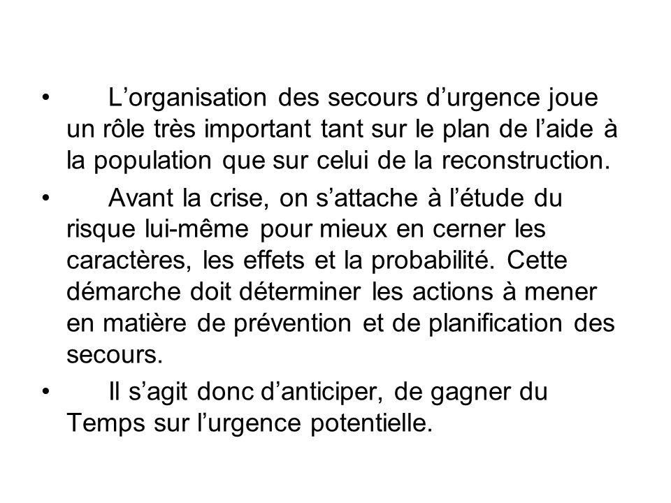 L'organisation des secours d'urgence joue un rôle très important tant sur le plan de l'aide à la population que sur celui de la reconstruction. Avant