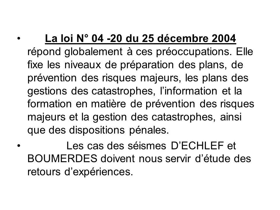 La loi N° 04 -20 du 25 décembre 2004 répond globalement à ces préoccupations. Elle fixe les niveaux de préparation des plans, de prévention des risque